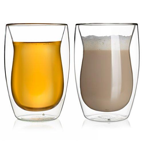 Counterpart Walled Coffee or Tea Glasses, Perfect Espresso Cappuccino Latte Cups, Beautiful Teardrop Shape, Thermo Insulated Premium Trait Borosilicate Glass, Set of 2 (10.1oz, 300 ml) by HomeKitchenStar
