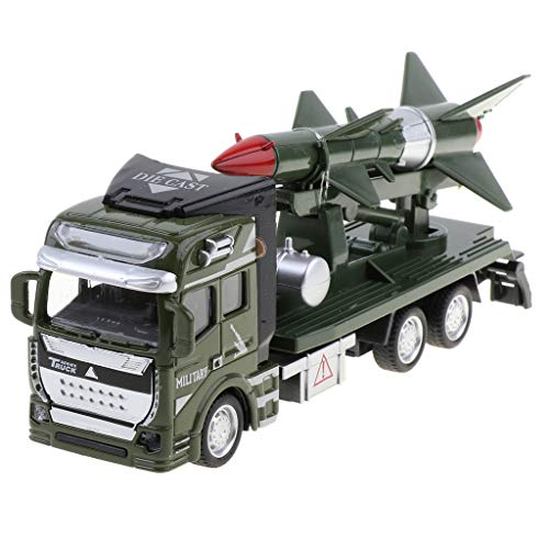 DYNWAVE Kids Friction Powered Vehicle 1/48 Alloy Military Missile Transport Army Engineering Truck Toy Model, Collectible