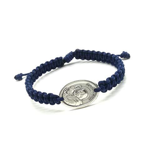 Saint Padre Pio Catholic Blessing Bracelet on Navy Cord, St. Padre Pio, Medjugorje handmade bracelet, cord bracelet, holy bracelet, saint bracelet, first communion, catholic gift, catholic bracelet