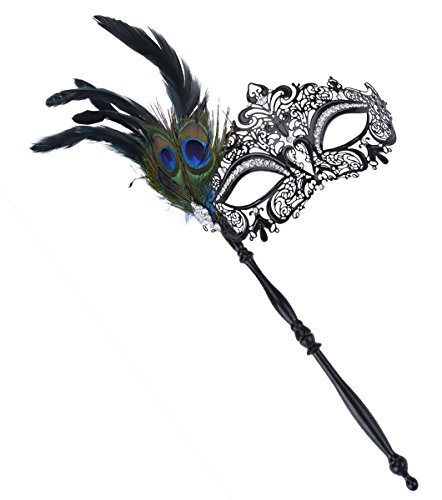 [Coxeer Masquerade Mask on Stick Halloween Costume Metal Mask Venetian Mask] (Feather Mask With Stick)