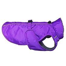 Ondoing Dog Fleece Lined Raincoat Puppy Slicker Winter Poncho Waterproof (XXL, PurpleWarm)
