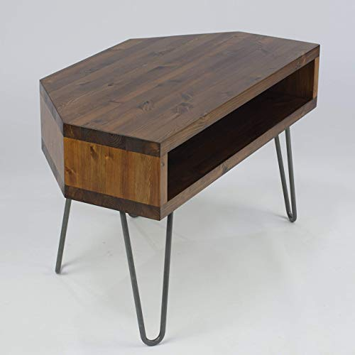 Vintage Retro Corner Corner Tv Stand Wmetal Hairpin Legs Solid Wood