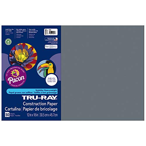 Tru-Ray Heavyweight Construction Paper, Slate,  12