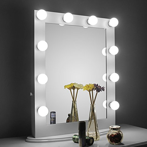Illuminated Cosmetic Mirror (Aoleen White Hollywood Makeup Mirror with light Vanity Mirror with Dimmer, Dressing LED Illuminated Cosmetic Mirror, Vanity Table Top Standing or Wall Mouted Lighting Mirror, Free LED Bulbs Gift)