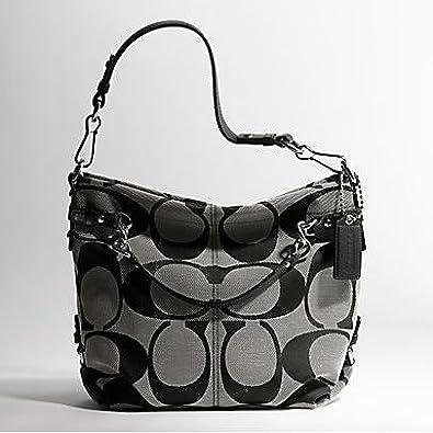 2d0f82e29563 Amazon.com  Coach Brooke Signature Carly Shoulder Hobo Bag Purse Tote Black  White  Shoes