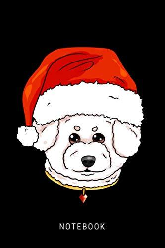 Bichon Frise Notepad - Notebook: Happy Bichon Frise Dog Wearing A Christmas Hat