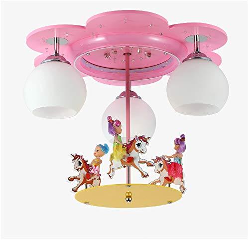 (Pink LED Carousel Model Girls Room Ceiling Light,Creative Wood Glass Lampshade E27 Screw Lighting Fixture for Children's Bedroom-RemoteControl)
