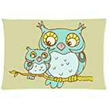 Owl Design Microfiber Pillowcase Cover - Standard Size 20x30 inch (one side)