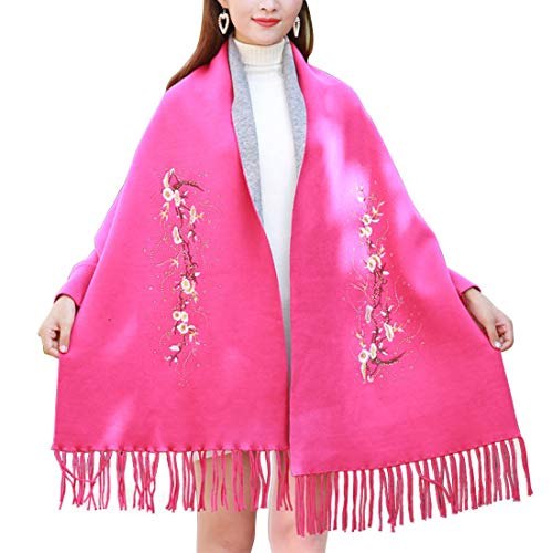 MATCHANT Lettis Large Format Muffler Cape Oshare Fringe Party Wedding Birthday Gift Embroidery Fall Winter Cooling Countermeasures Against Cold (Color : Pink)