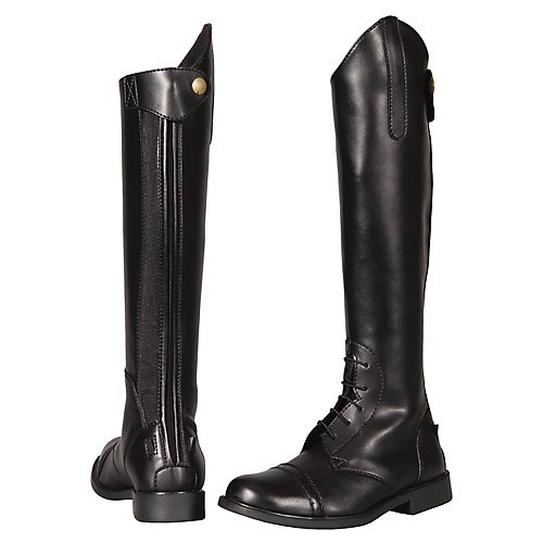 Leather Equestrian Boots - TuffRider Children's Starter Back Zip Field Boots in Synthetic Leather, Black, 2 Slim Regular