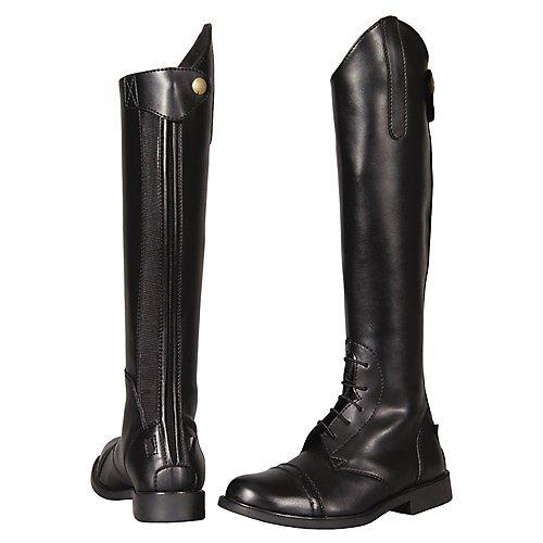 TuffRider Children's Starter Back Zip Field Boots in Synthetic Leather, Black, 5 Slim Regular