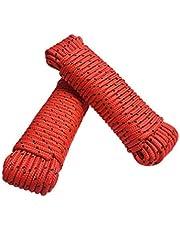 Touw 8 mm 40 m - 2 stuks set - polypropyleen touw PP, vastmakerslijn, multifunctioneel touw, breien, tuintouw, outdoor - breukbelasting: 700kg, 40m x 8mm (2x 20 m) set van 2 rood-zwart