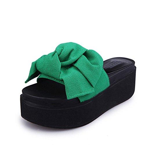 Vert Mules Chausson Platform JITIAN Chaussures Plage Flops Plates Bowknot Épaise Chaussures Sandales Femmes Pantoufles Flip Smelle de Tongs Mules 0rERZPUEW