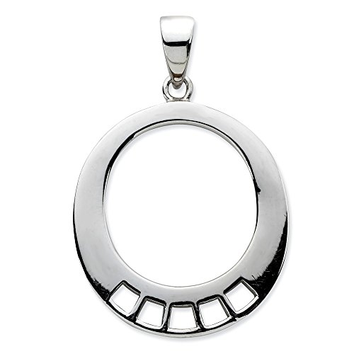 925 Sterling Silver Oval Shaped Pendant Charm Necklace Carrier Holder Fine Jewelry Gifts For Women For Her