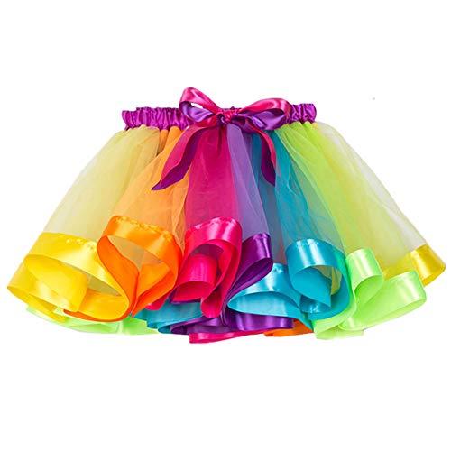 ECYC Meisjes Kleurrijke Gelaagde Regenboog Tutu Rok Ballet Dans Feestjurk