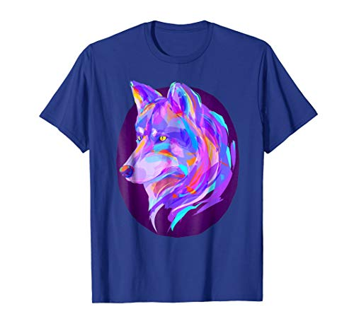 Wolf T-Shirt with in Purple Neon Northern Lights ()