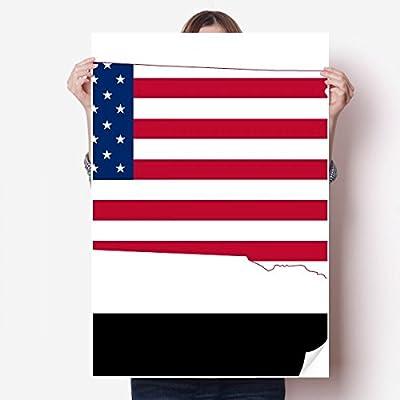 DIYthinker South Dakota USA Map Stars Stripes Flag Shape Vinyl Wall Sticker Poster Mural Wallpaper Room Decal 80X55cm