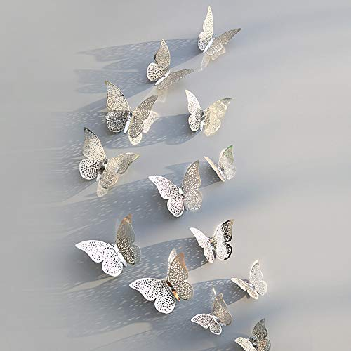 VEFSU 12 Pcs 3D Hollow Wall Stickers Butterfly Fridge for Home Decoration New - Refrigerator Wagon