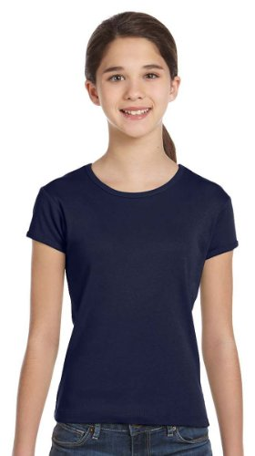 Bella Canvas Girls' Baby Rib Short-Sleeve T-Shirt - NAVY - 14-16