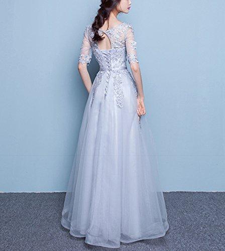 Damen Ärmeln Ballkleider Abendkleider 1 2 Grau Lang Spitze mit Callmelady qTPRtZOZ