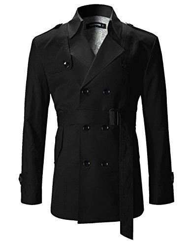 FLATSEVEN Mens Slim Fit Designer Casual Trench Coat Black, - Mens Cotton Trench Coat