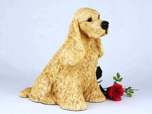 Cocker Spaniel Buff Cremation Pet Urn for secure installation of your beloved pet's ashes indoors or outdoors