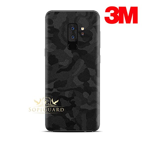 SopiGuard for Samsung S9+ S9 Plus Carbon Fiber Rear Panel Precision Edge-to-Edge Coverage Easy-to-Apply Vinyl Skin Sticker (3M Black Camo, Samsung S9+ (Cover Skin Carbon)
