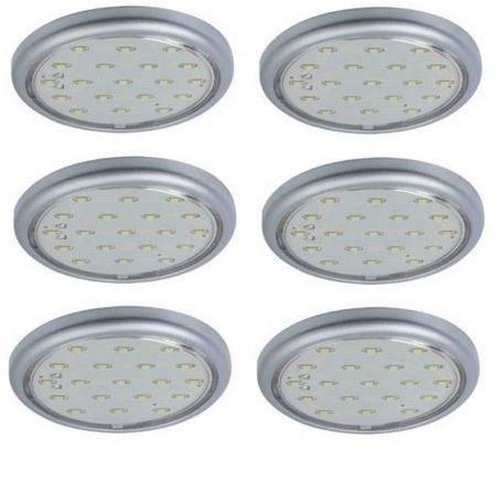 LED Unterbauleuchten Schranklampen Möbel Aufbauleuchten 6x1,22W titanfarbig
