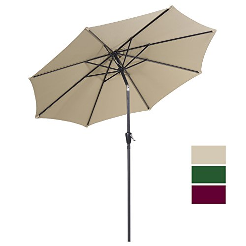 Cloud Mountain 9 Ft Patio Umbrella Outdoor Market Umbrella Table Umbrella with Push Button Tilt and Crank Outdoor 8 Steels Ribs 100% Polyester, Tan