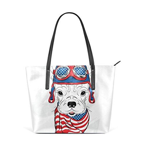 COOSUN Bulldog Americano llevaban casco y del hombro del cuero de la PU del monedero del bolso del pañuelo y bolsos bolsa de asas para las mujeres Medio muticolour