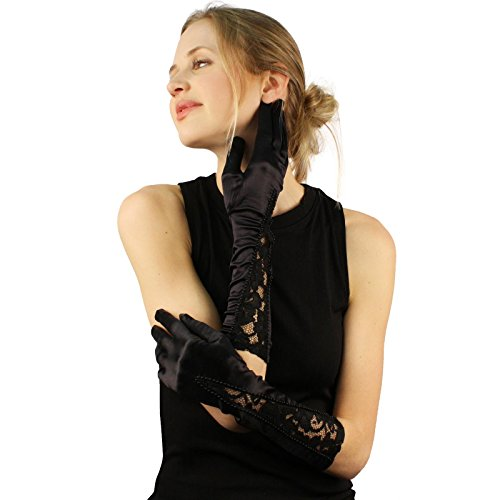 Fancy V Bead Floral Lace Satin Below Elbow Dressy Full Long Church Gloves Black