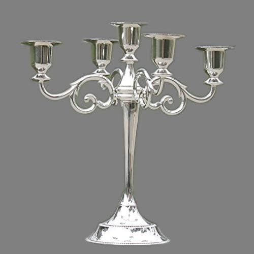 QUAN Votive Candle Holders 創造的で文化的なレトロなローソク足ホームデコレーションリビングルームカフェテーマレストランジュエリーキャンドルライトディナー小道具ギフト、スタイル:シルバー-5腕