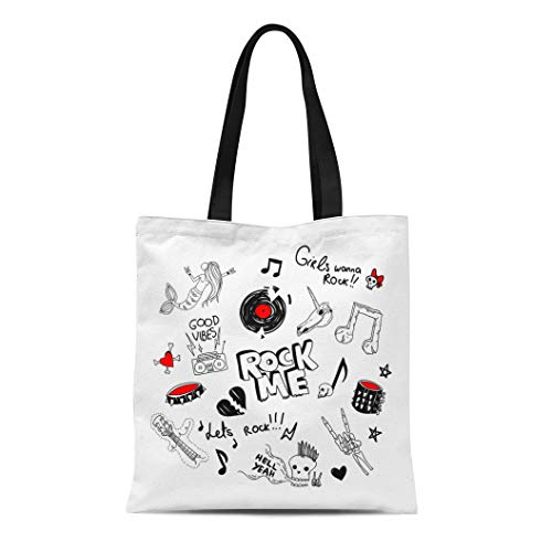 Semtomn Cotton Canvas Tote Bag Cool Large of Retro 90S Funny Teen Rock Drawings Reusable Shoulder Grocery Shopping Bags Handbag Printed ()