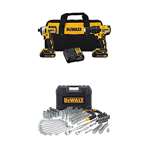 DEWALT DCK277C2 20V MAX Compact Brushless Drill and Impact Combo Kit with 172 pc Mechanics Tool Set - Mechanics Drill Set