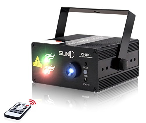 Mini Portable Stage Laser Lights DJ Disco Lights 3 Lens 16 RG Color Patterns, Sound Activated Remote-control Professional Laser Projector Decoration for Party DJs Disco Clubs Bars Holiday X'mas