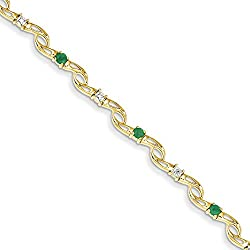 14K Yellow Gold Diamond and Emerald Round Bracelet