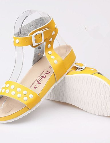 ShangYi Women's Shoes Leather Flat Heel Gladiator Sandals Outdoor / Casual Blue / Yellow / White Blue UCXNorMypD