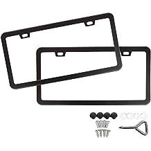Mushan 1 Pair License Plate Frame Shield Stainless Steel Bumper U.S/Canada Standard Guard Car Plate Frame Screw Cap Kit