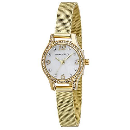 Laura Ashley Womens Mini Gold Crystal Bezel Mesh Bracelet Watch