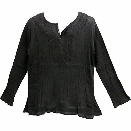 Crinkled Gauze Tunic - Mens Indian Black Bohemian Crinkled Gauze Cotton Embroidered Tunic Shirt Kurta (XL)