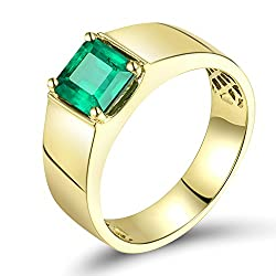 Yellow Gold Green Emerald Diamond Ring
