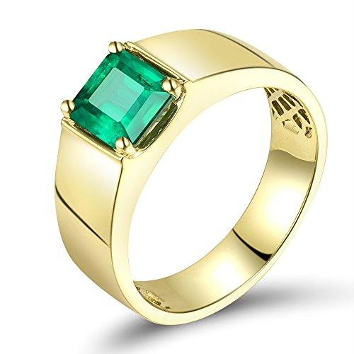 - Lanmi 1.4CT Genuine Natural Columbia Emerald 14K Yellow Gold Engagement Ring for Men