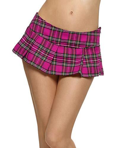 Avidlove Women Schoolgirl Skirt Cosplay Sleepwear Plaid Mini Pleated Dress Rose Red (FBA) XL -