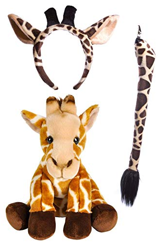 Wildlife Tree Stuffed Plush Giraffe Ears Headband and Tail Set with Baby Plush Toy Giraffe Bundle for Pretend Play Animals Dressup -