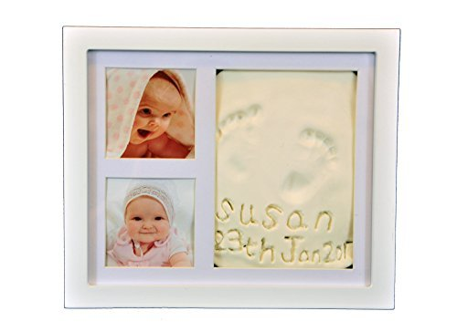 Beautiful Hand and Footprint Baby Frame, Its a Cool and Unique Baby Shower Gift, A Memorable Keepsake Baby Decoration That is a Great Baby Gift - with a Bonus Gift (White)
