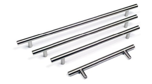 Solid Metal Brushed Steel T Bar Kitchen Door Handles 480mm hole centres by GTV 480 Mm Center