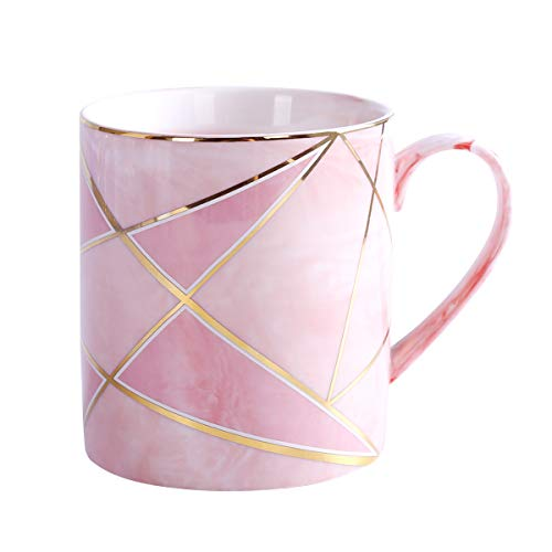 WAVEYU Ceramic Mug, Pink Coffee Mug Marble with Handle Decoration with Sparky Gold Girly Coffee Tea Cup for Girl Women for Ideal Gifts, 14 oz (Pink) (Pretty Cups Coffee)