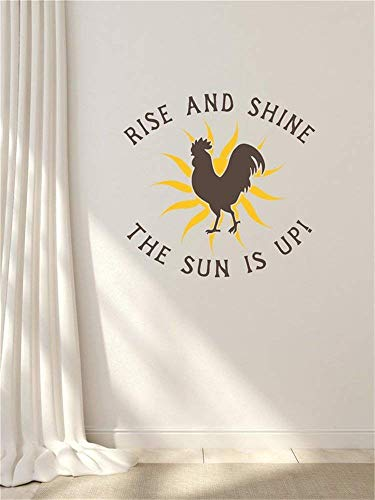 Wall Sticker Decor Rise and Shine Rooster Chicken Farm Art Saying Letters Vinyl Wall Decals