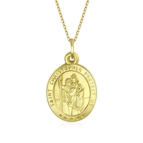 14K Yellow Real Gold Religious Medal Saint Christopher Pendant Necklace For Women With 14K Gold Chain