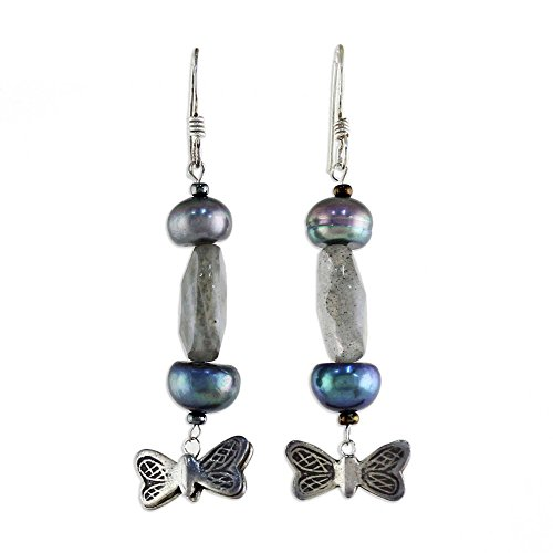 NOVICA Sterling Silver, Cultured Freshwater Pearl, and Labradorite Earrings, Iridescent Sky
